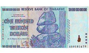 Zimbabwe One Hundred Trillion Dollar bill
