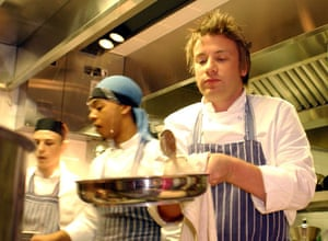 Jamie Oliver: Jamie Oliver at work in the kitchen during the launch of 'Fifteen'