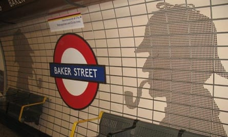 Sherlock Holmes image at Baker St tube, London