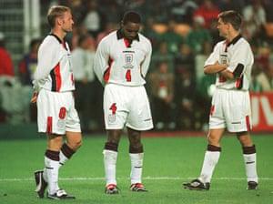 England Kits: David Batty, Paul Ince and Michael Owen England 1998