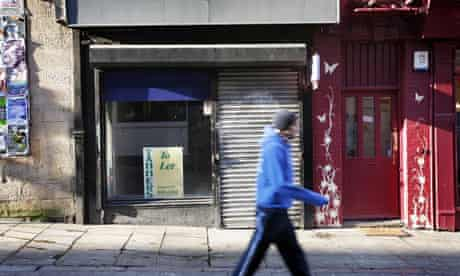 As the recession bites, a shop in Nottingham's Lace Market is closed