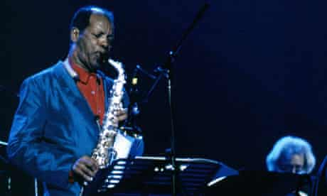 Ornette Coleman playing saxophone the Seventies