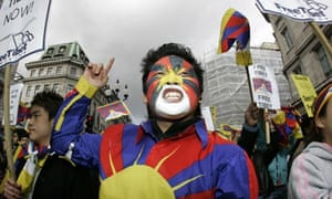 A protestor shouts during a Free Tibet demonstration
