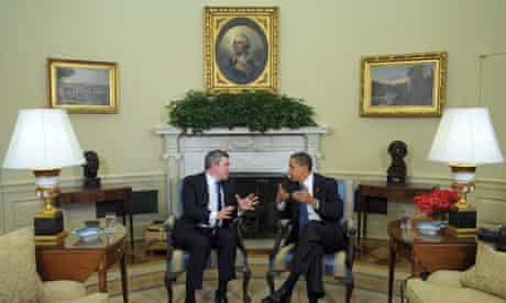 85018735Gordon Brown and Barack Obama discuss policy in the White House