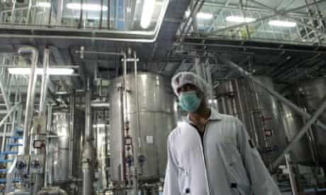 An Iranian technician works at the Isfah