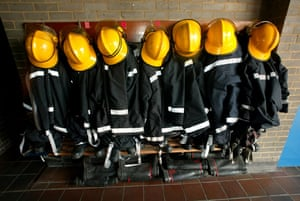 Firefighter uniforms: Firefighters' uniforms at Brentwood Fire Station in 2002