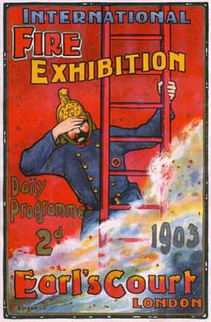 Firefighter uniforms: 1903: Poster advertising the International Fire Exhibition at Earl's Court