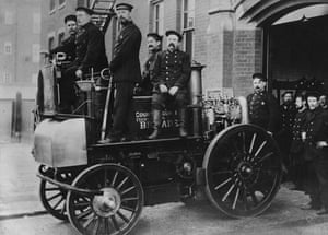 Firefighter uniforms: 1902: The crew sit on board London's first motor-driven fire engine