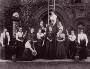 Firefighter uniforms: 1900: A group of female firefighters during a training session