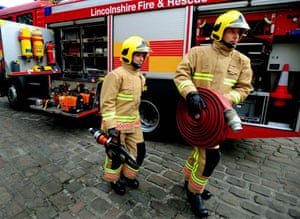 Firefighter uniforms: 2009: Firefighters during the launch to mark the rollout of a new uniform