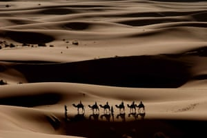 Unseen: Tourists are taken across the Erg Chebbi sand dunes