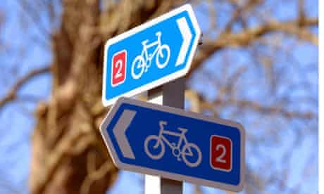 bike cycle path signs