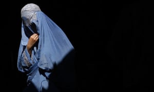 A burqa-clad Afghan woman