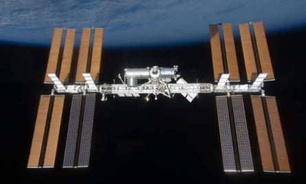 The International Space Station as seen from the US space shuttle Discovery