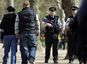 G20: Armed policeman patrol the Mall in London