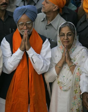 G20 partners: Indian Prime Minister Manmohan Singh, left, and his wife Gursharan Kaur.