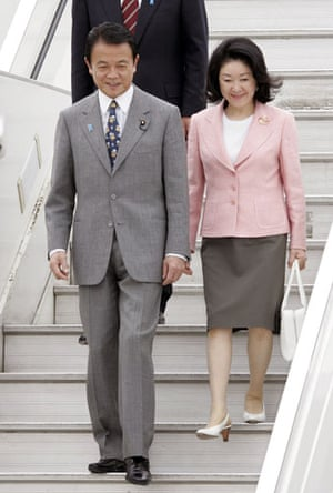 G20 partners: Japanese Prime Minister Taro Aso and his wife Chikako.