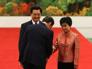 G20 partners: President Hu Jintao and his wife Liu Yongqing greet President Sarkozy.