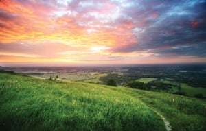 South Downs National Park: Sunsetting over the south downs Sussex, England