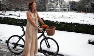 Kristie Naimo and her bicycle at her green wedding in November 2007