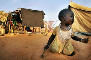 Darfur atrocities: An infant refugee from the Darfur in the Oure Cassoni refugee camp, Chad.