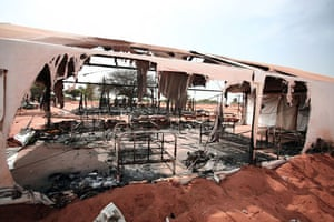 Darfur atrocities: A destroyed dormitory at African Union camp in Haskanita, Sudan