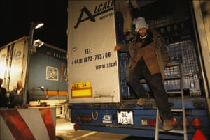 Eurotunnel : Illegal Eastern European immigrants come off a truck at Calais