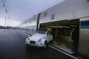 Eurotunnel : 1st working day of the eurotunnel shuttle