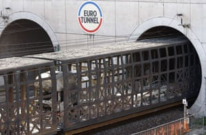 Eurotunnel : Eurotunnel train transports remains of a lorry as it exits Channel Tunnel