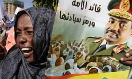 A Sudanese woman protests against President Omar Bashir's arrest warrant