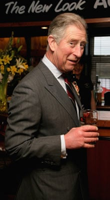 Prince Charles supping a pint of bitter