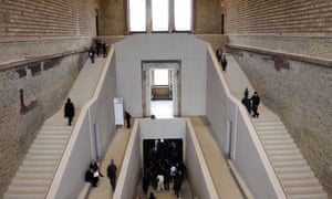 An interior view of the staircase of the historical 'Neue Museum' in Berlin