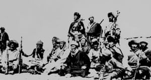 Tibetan uprising: March 1959: The Dalai Lama with members of an escape party