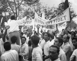 Tibetan uprising: April 1959: A crowd demonstrating outside the Chinese Embassy in New Delhi