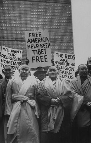 Tibetan uprising: 1 March 1959: Priests leading American Kalmuks in protest