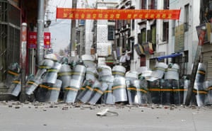 Tibetan uprising: 14 March 2008: Chinese security personnel in Lhasa