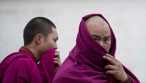 Tibetan uprising: 15 March 2008: Buddhist Monks in the monastary town of Xiahe