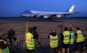 G20 Summit: Air Force One arrives at Stansted Airport, carrying President Barack Obama
