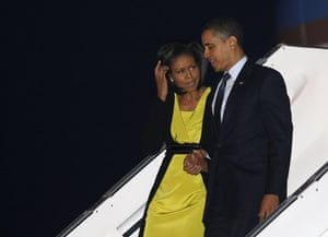 G20 Summit: Barack Obama and first lady Michelle arrive at London's Stansted Airport