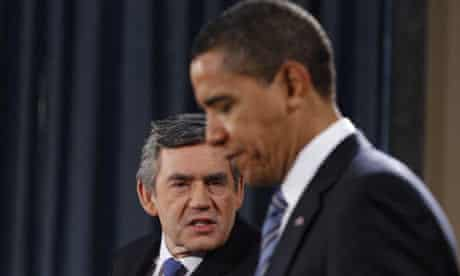 Barack Obama and Gordon Brown conduct a joint press conference ahead of g20 summit