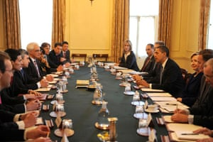 Obama goes to downing st: Barack Obama meets Gordon Brown and the British cabinet
