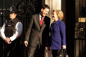 Obama goes to downing st: Secretary of State Hillary Clinton  with Foreign Secretary David Miliband
