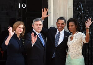 Obama goes to downing st: Barack Obama  Gordon Brown and their wives at Downing Street