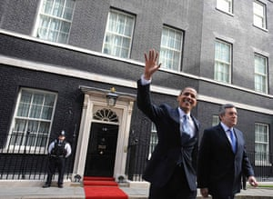 Obama goes to downing st: Gordon Brown and Barack Obama leave 10 Downing Street in London
