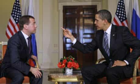 Barack Obama and Dmitri Medvedev