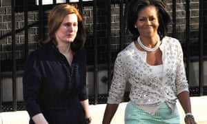 Sarah Brown at Michelle Obama outside Downing Street on 1 April 2009.