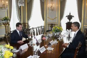 G20 summit: Barack Obama: Russian President Dmitry Medvedev with President Barack Obama in London