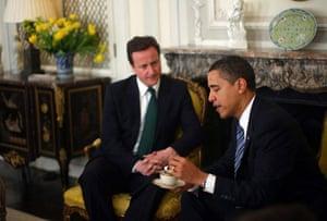 G20 summit: Barack Obama: President Obama Greets David Cameron At The US Ambassador's Residence.
