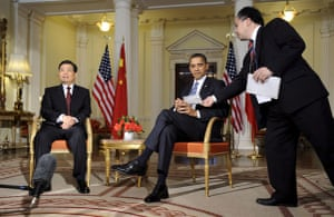 G20 summit: Barack Obama: President Barack Obama talks to Chinese President Hu Jintao
