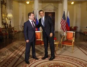 G20 summit: Barack Obama: President Barack Obama meets with Russian President Medvedev in London